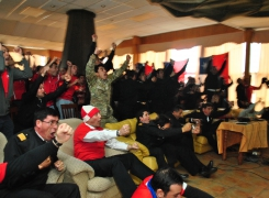 Alentando a la Roja en la copa mundial de fútbol Brasil 2014.